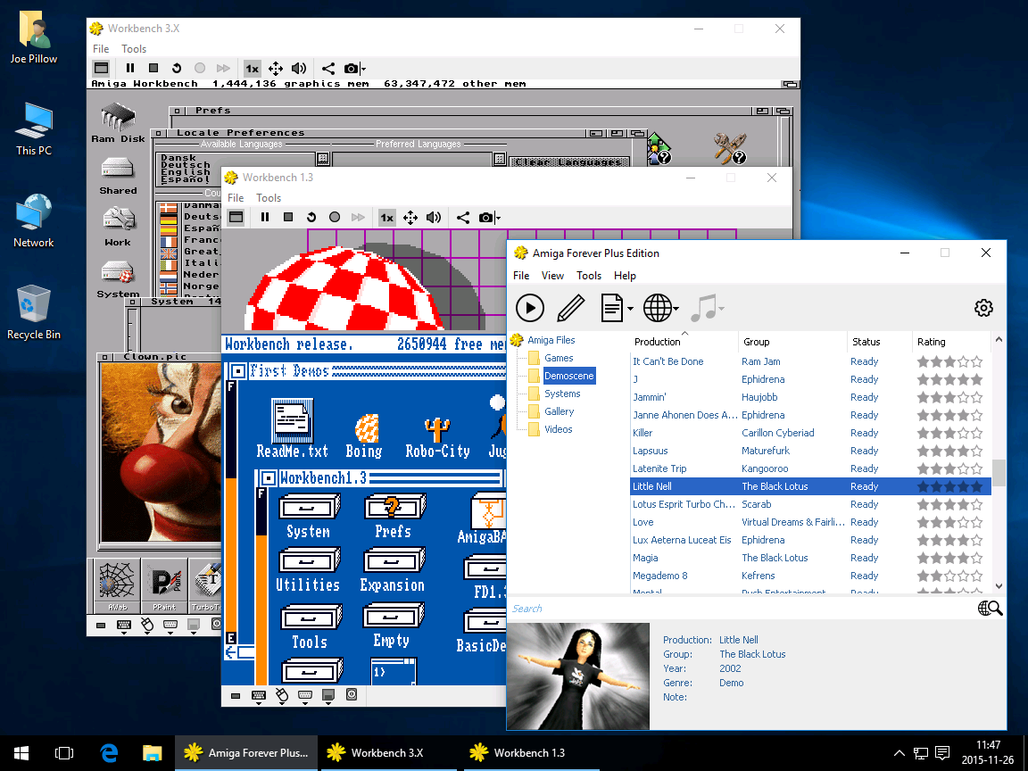 Amiga Forever on Windows Desktop, with Workbench 1.3 and 3.X