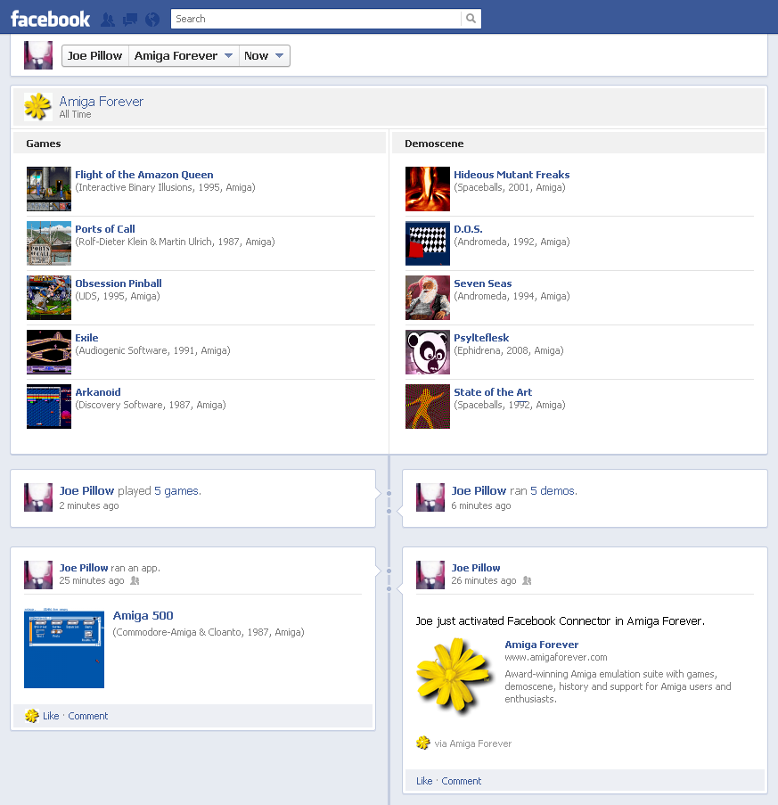Social Features - Facebook Activity Timeline