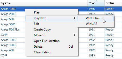 Amiga Forever player - Plugin menu options